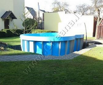 Nestandartinės formos plastikinio lauko baseino įrengimas